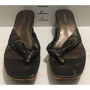 Nine West brown sandal wedges size 8 1/2 M